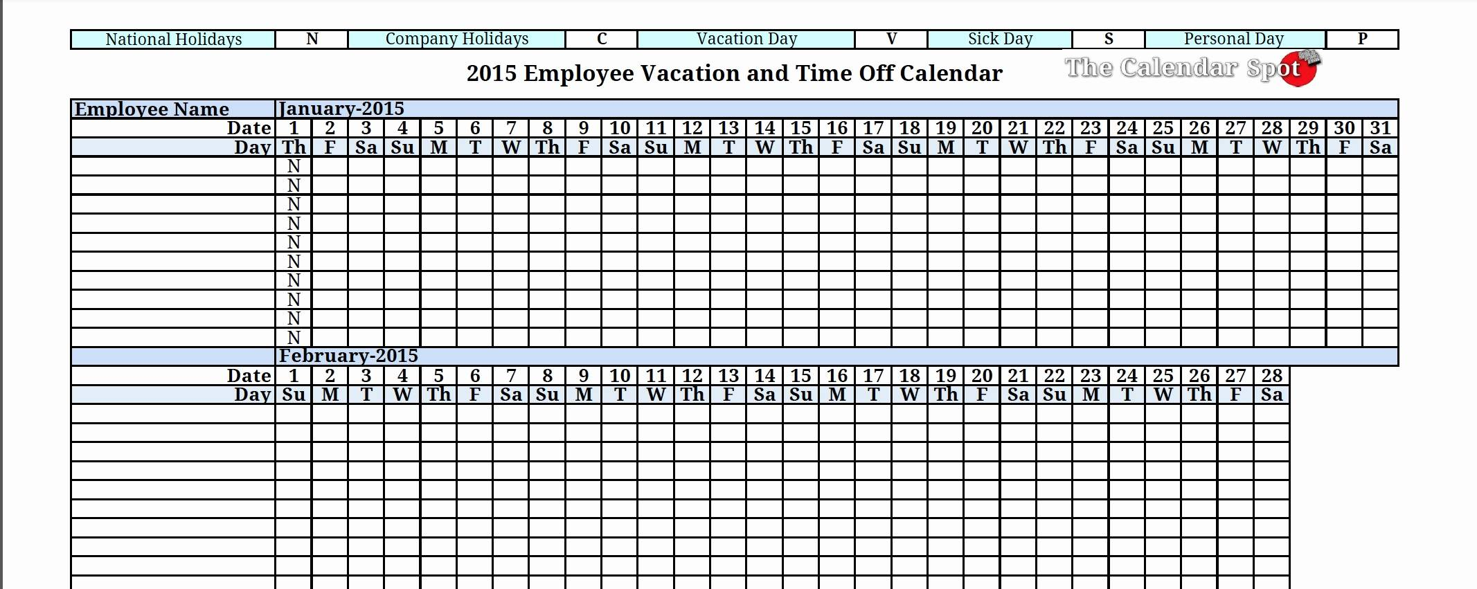 Vacation Tracking Template 2017