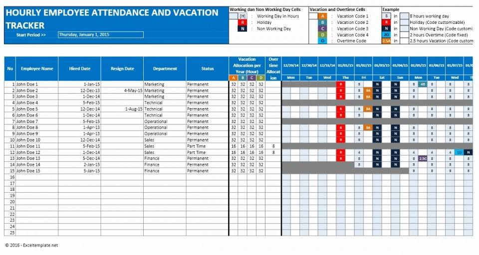 Vacation Tracking Template Excel