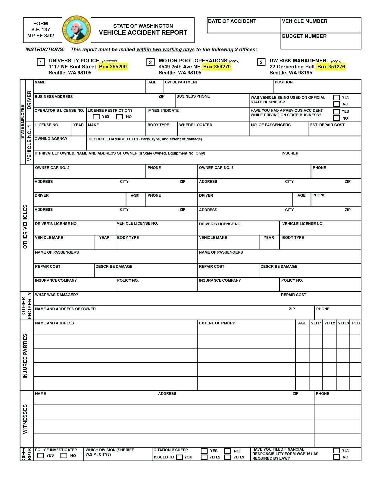 Vehicle Accident Report Form Template Doc