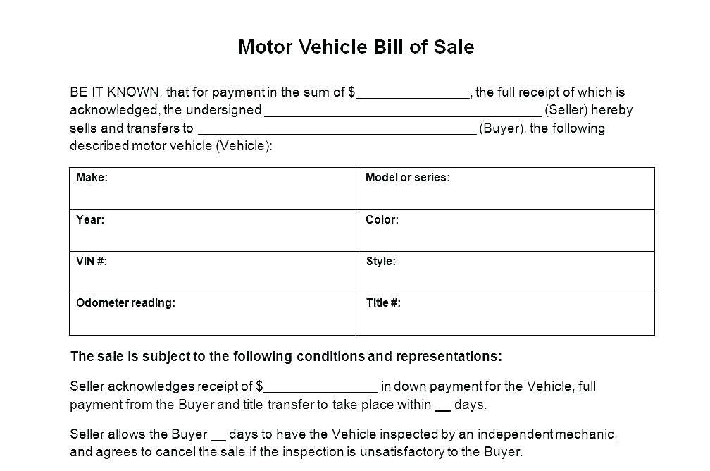Vehicle Bill Of Sale Template Canada