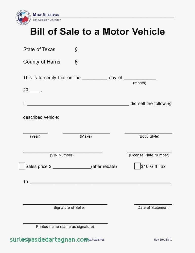 Vehicle Bill Of Sale Template Colorado