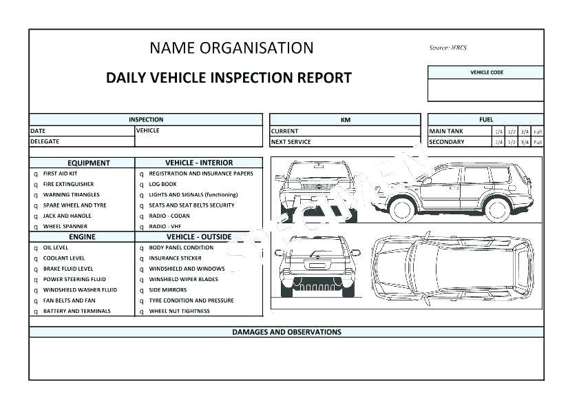 Vehicle Checklist Template South Africa