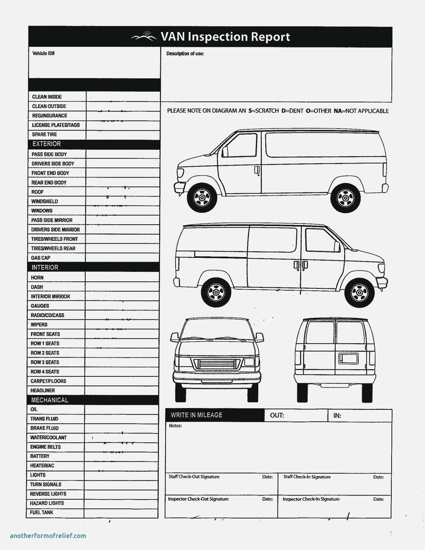 Vehicle Damage Checklist Template