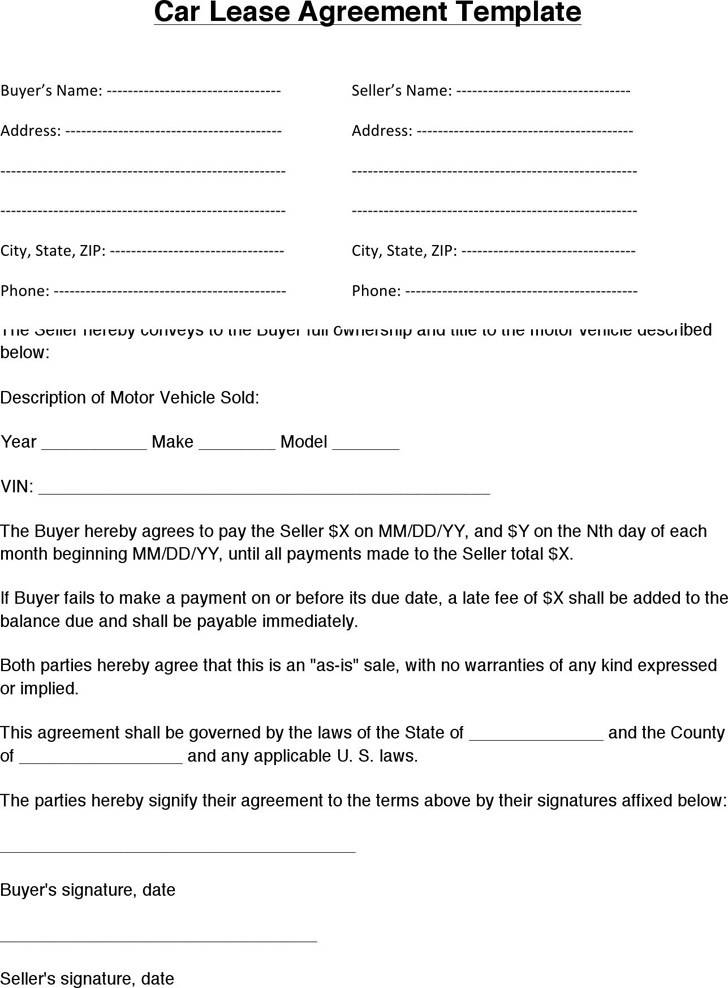 Vehicle Lease Agreement Template Pdf