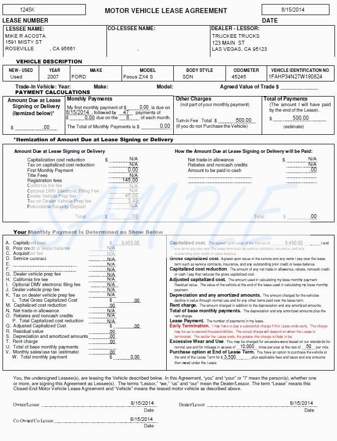 Vehicle Lease Document Template
