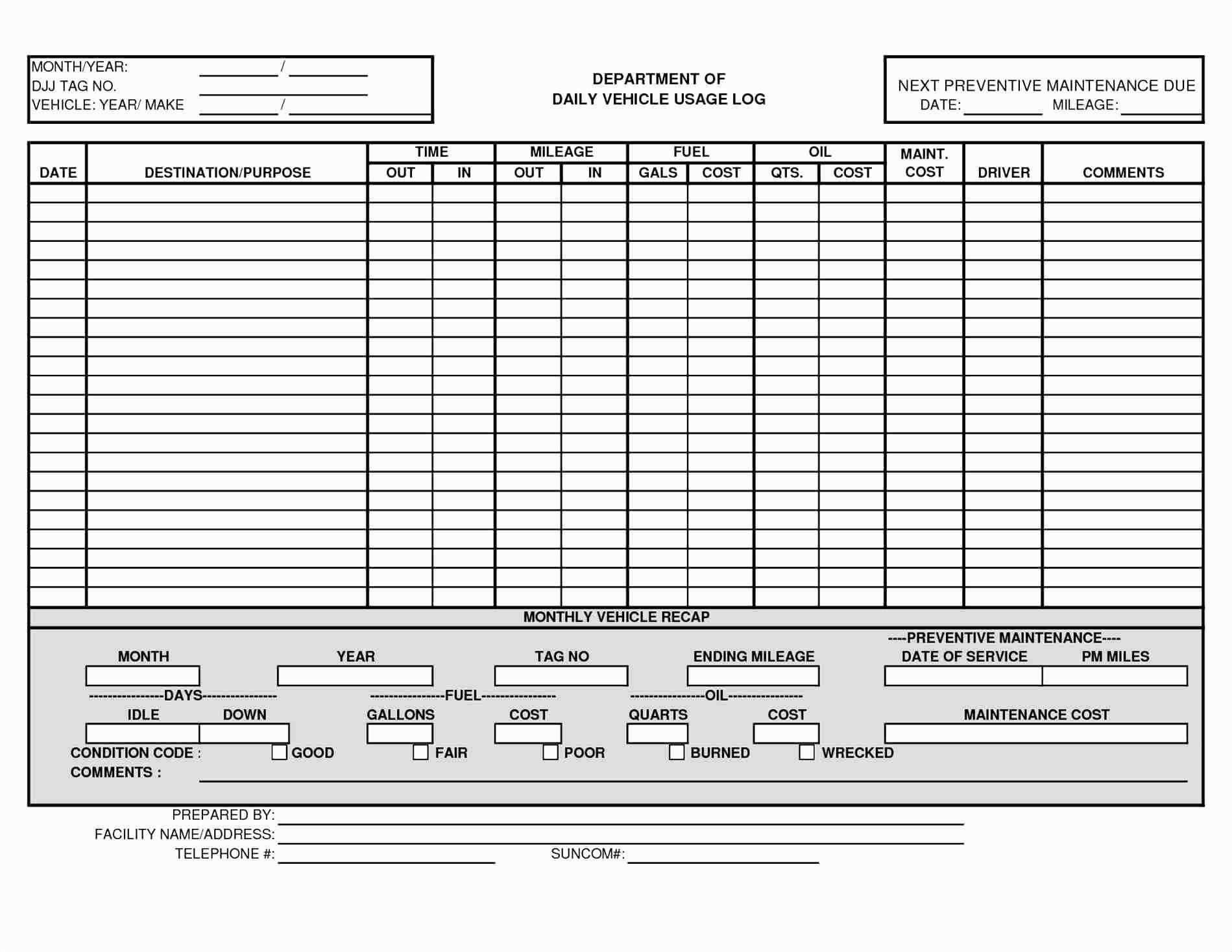Vehicle Maintenance Checklist Template Excel