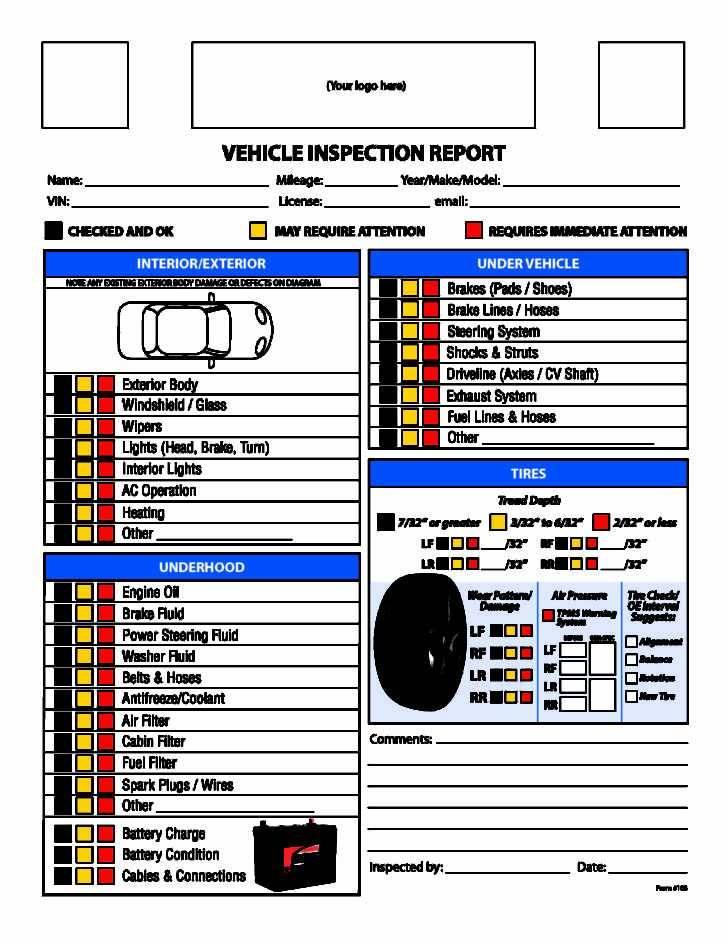 Vehicle Maintenance Inspection Checklist Template