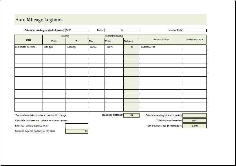 Vehicle Mileage Log Book Template