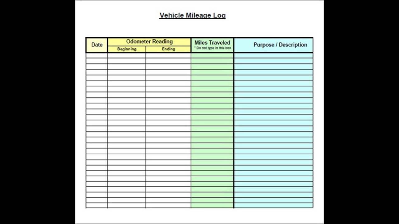 Vehicle Mileage Log Template Excel