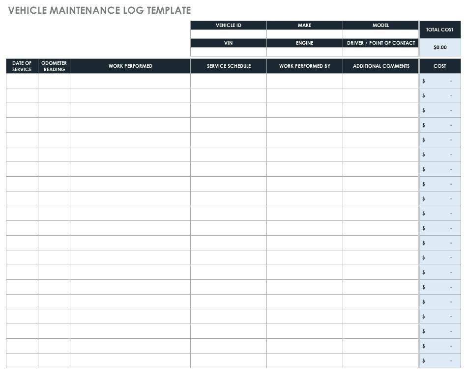 Vehicle Mileage Log Template For Numbers
