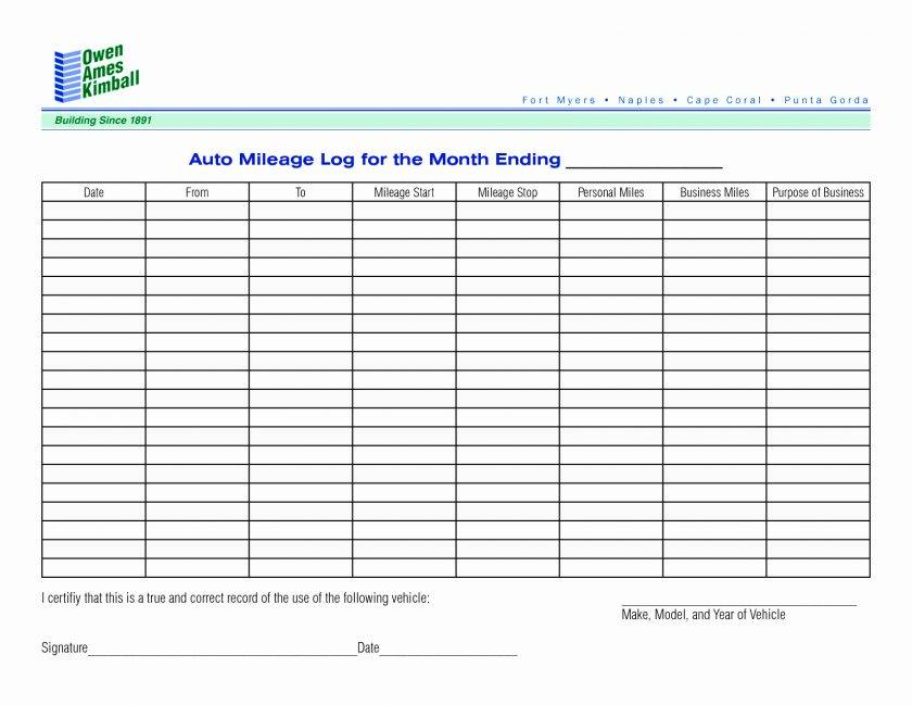 Vehicle Mileage Log Template Free
