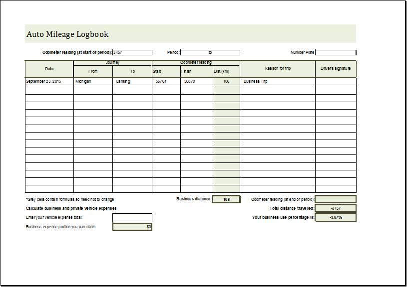 Vehicle Mileage Log Template