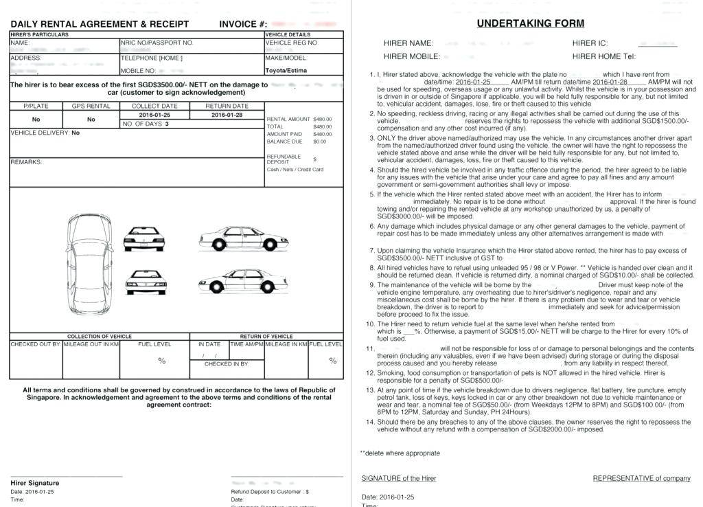 Vehicle Rental Agreement Template South Africa