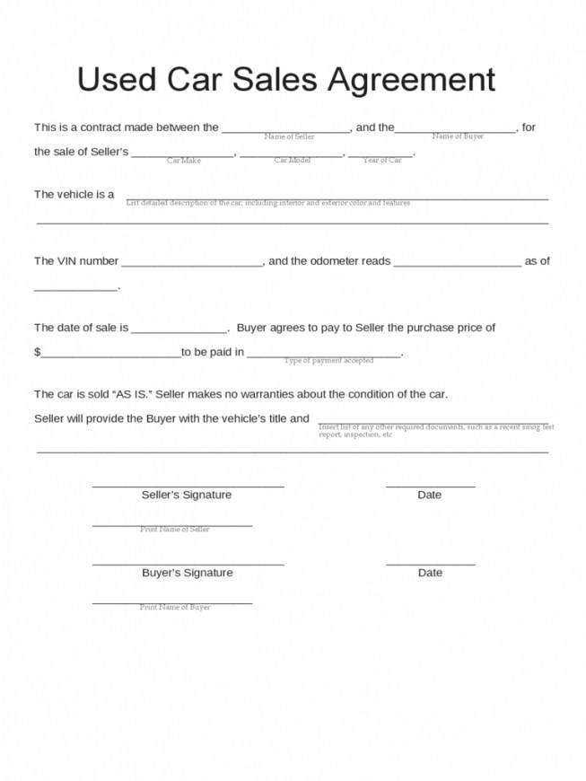Vehicle Sales Contract Template