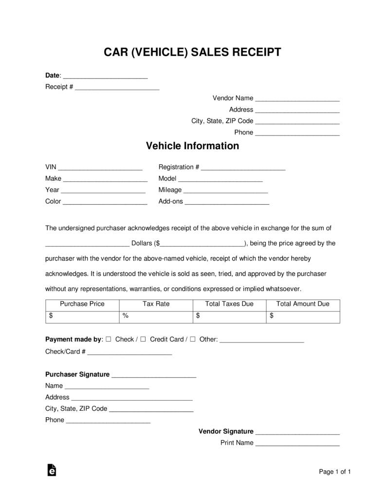 Vehicle Sales Receipt Template Word