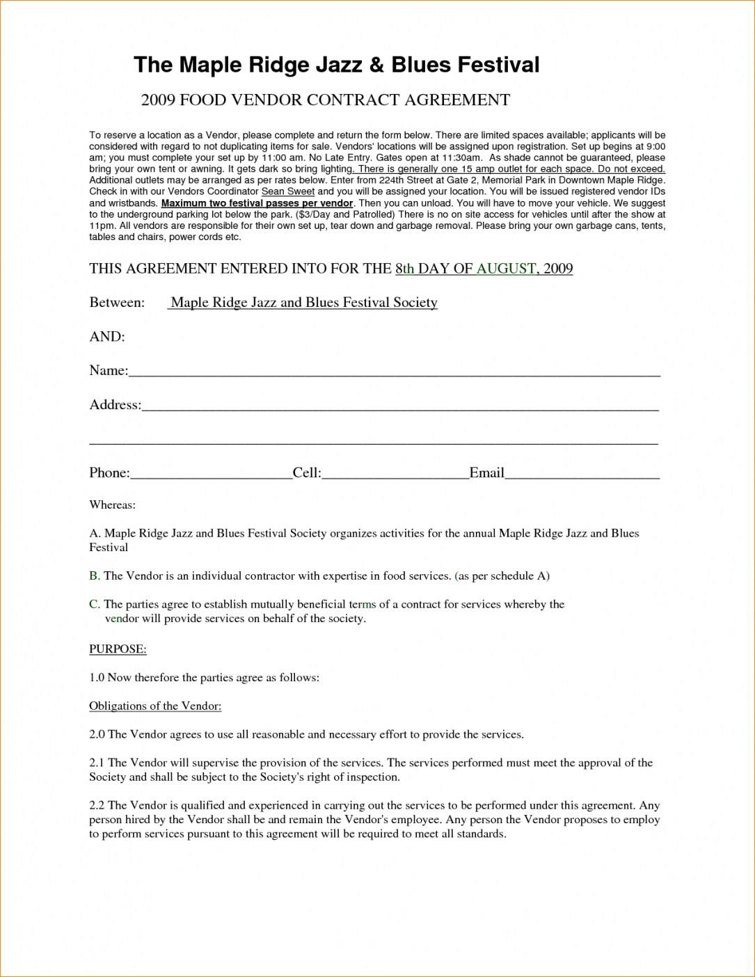 Vendor Agreement Template Contract