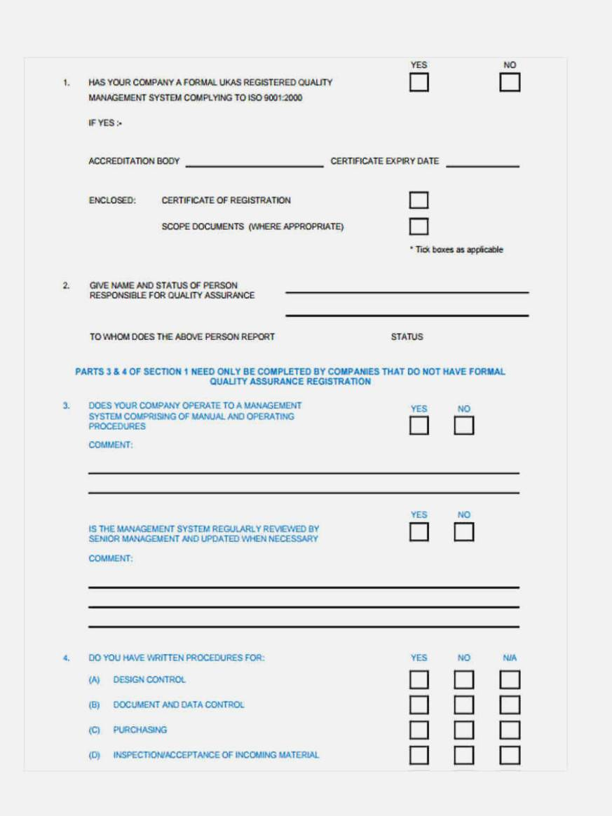 Vendor Assessment Form