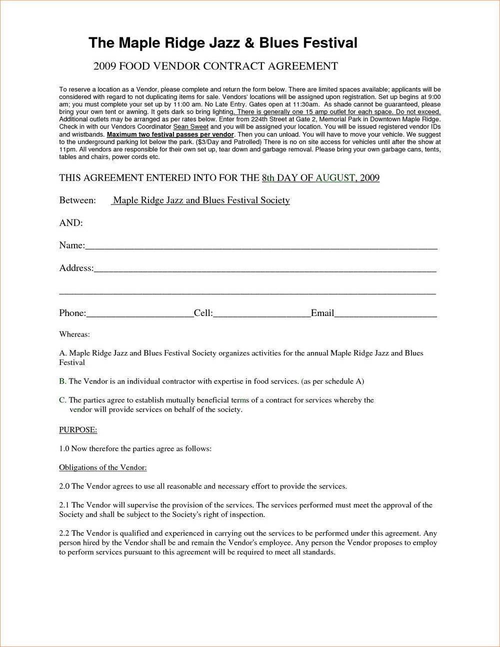 Vendor Contract Format