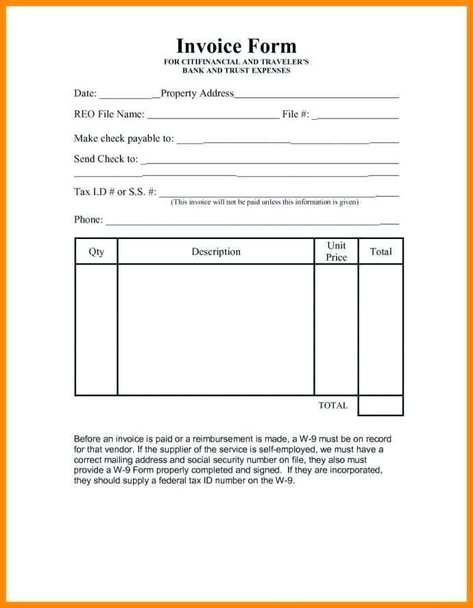 Vendor Invoice Template