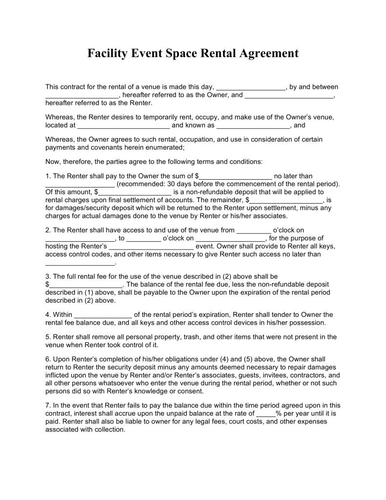 Venue Contract Template Free