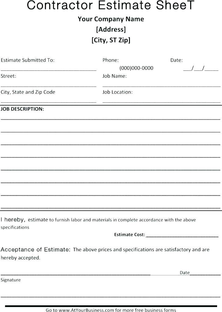 Verbal Quotation Form Template