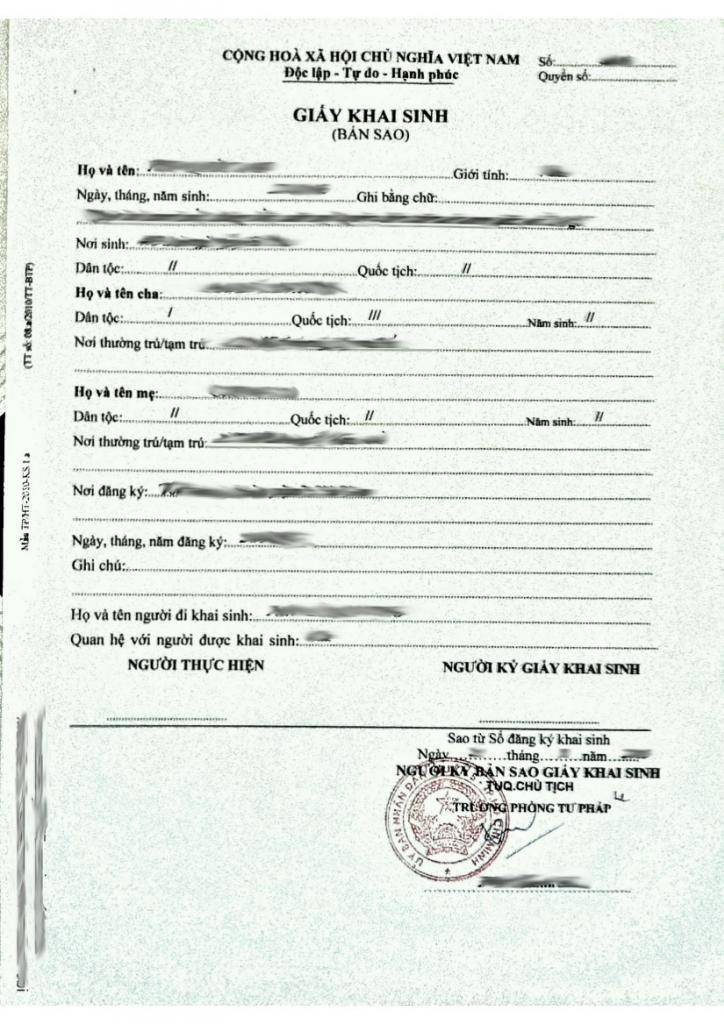 Vietnamese Birth Certificate Translation Template