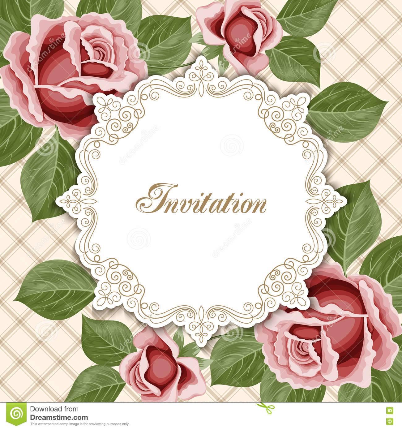 Vintage Flower Invitation Template
