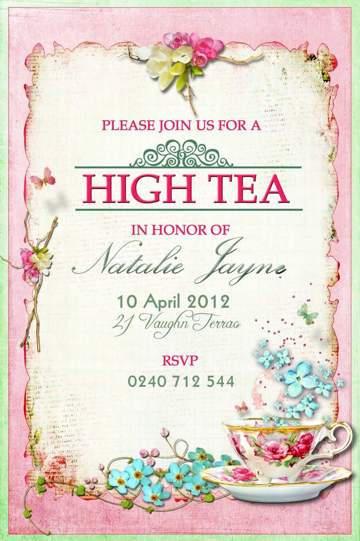 Vintage High Tea Invitation Template