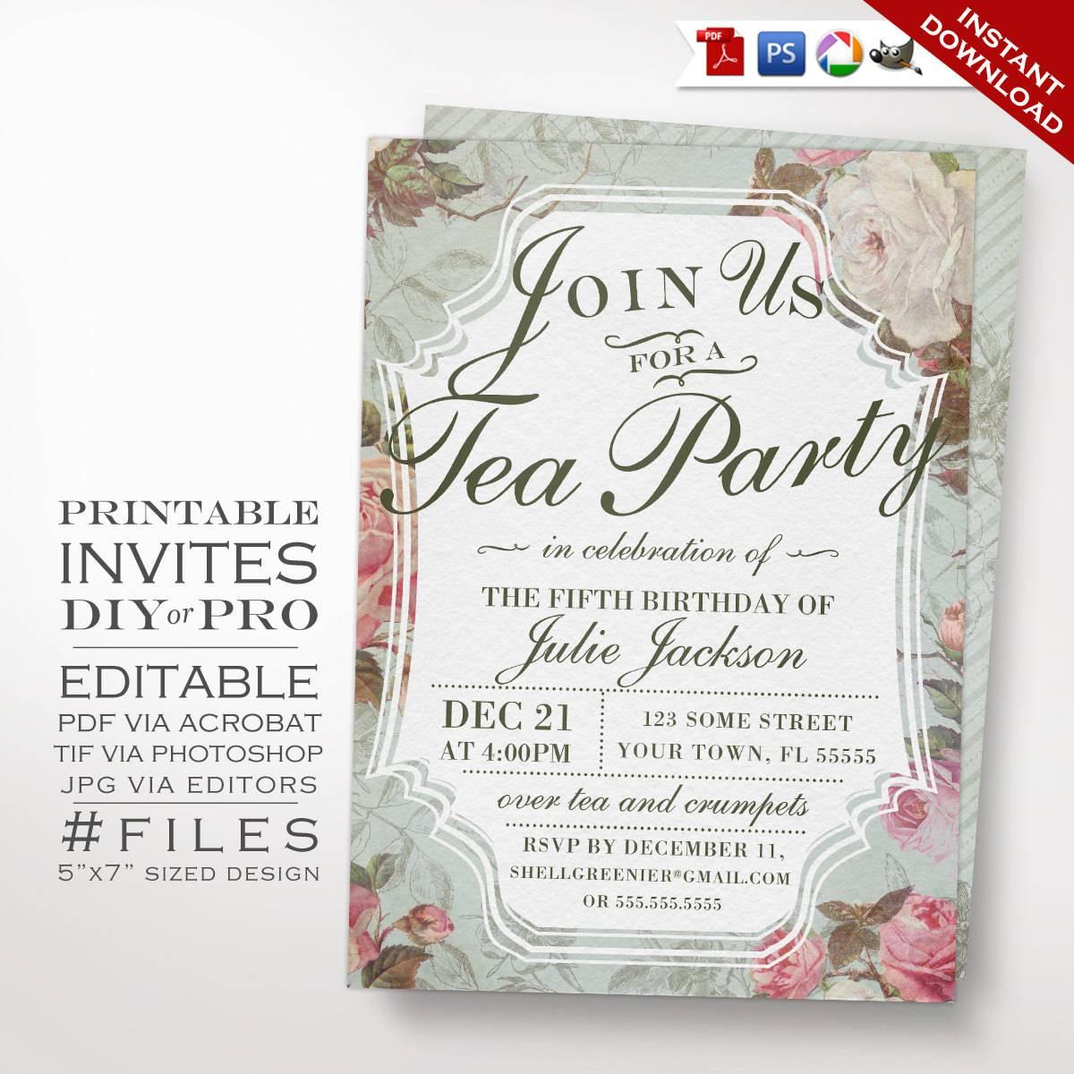 Vintage Tea Invitation Templates