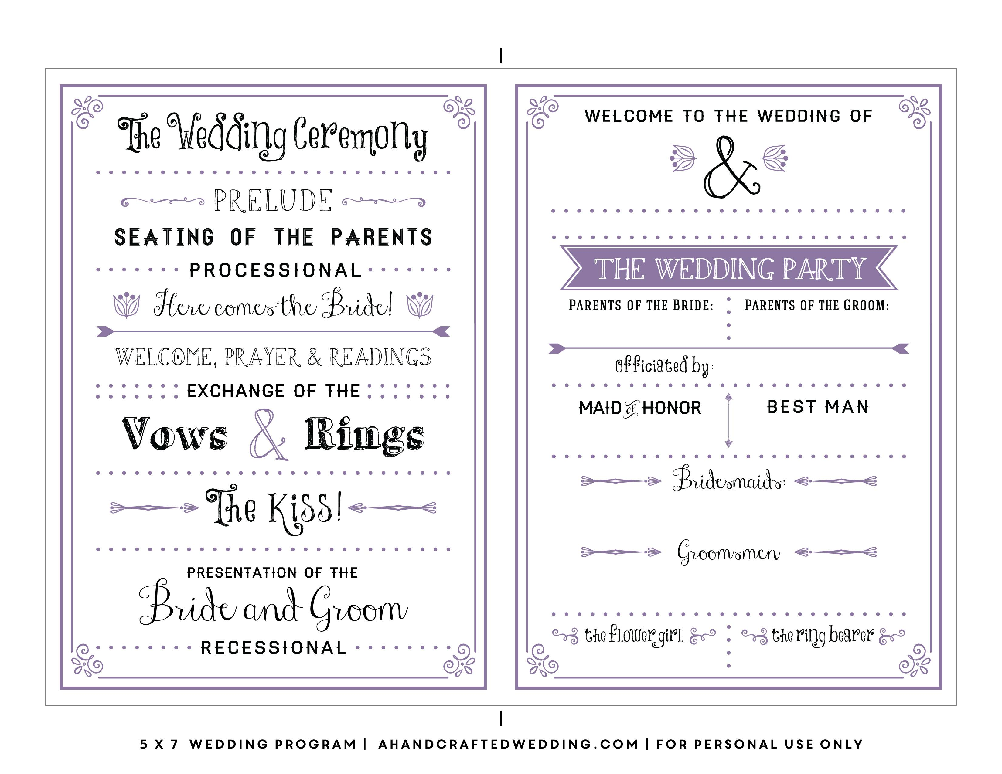 Vintage Wedding Program Template Free