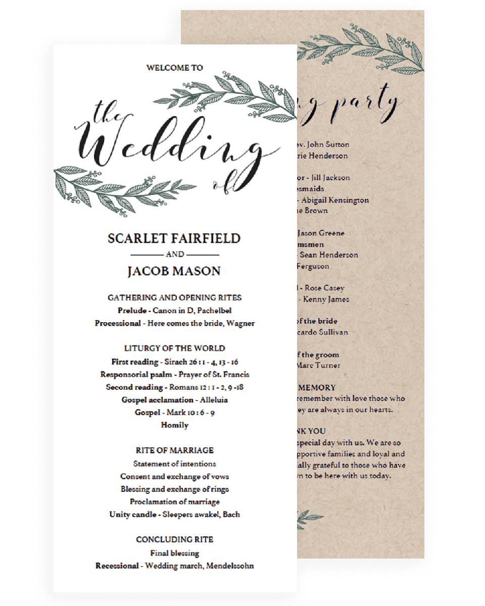 Vintage Wedding Program Template