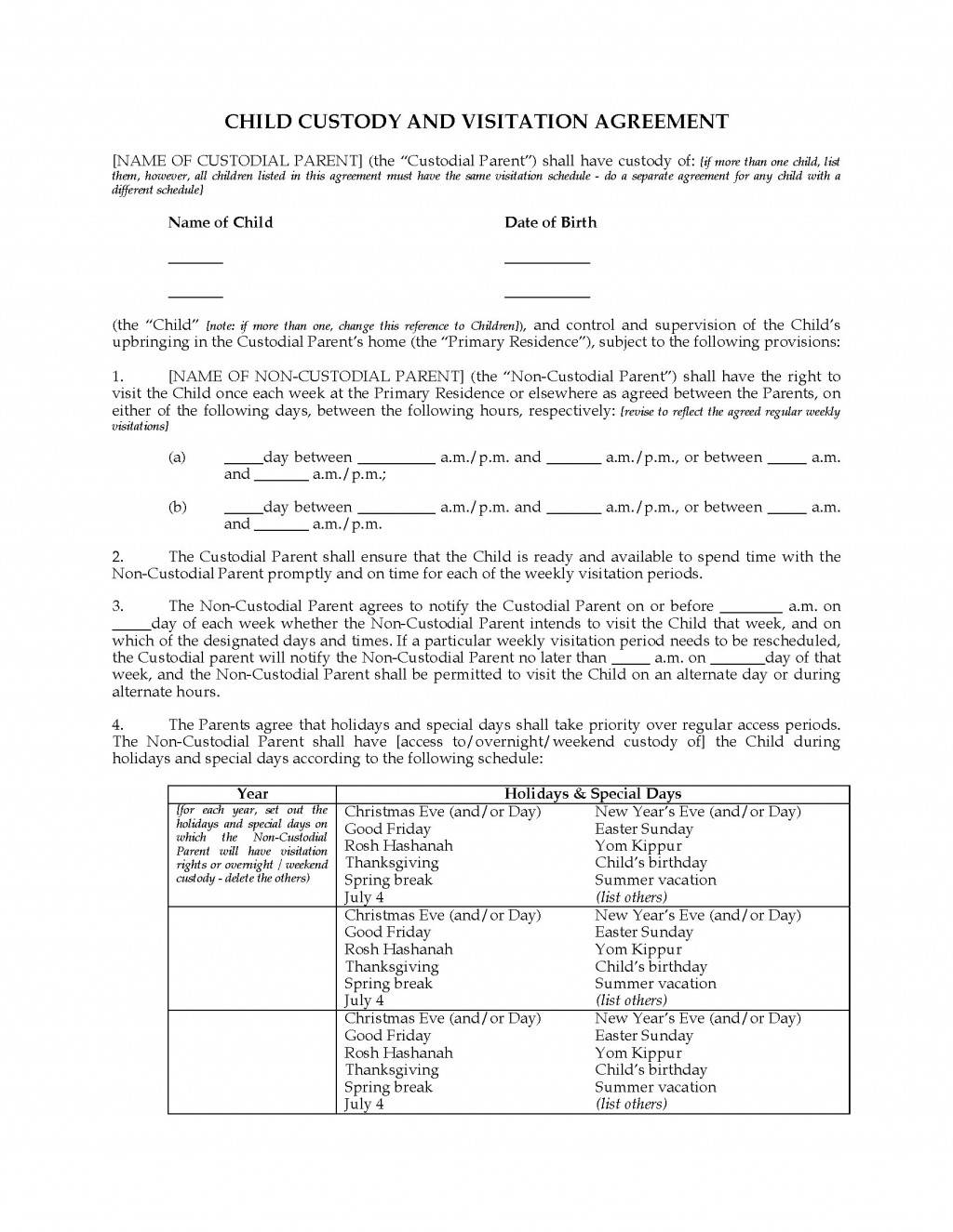 Visitation Agreement Template Free