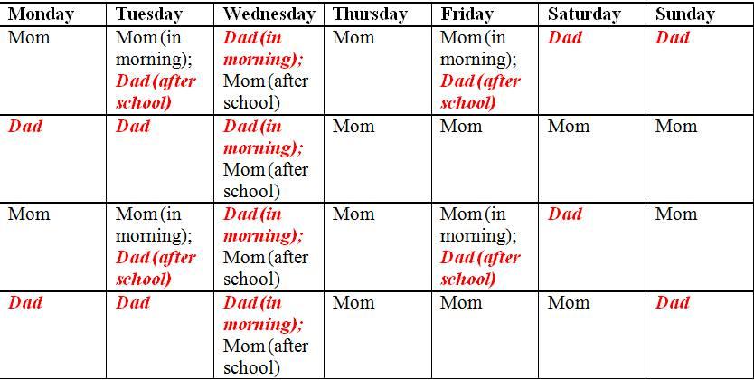 Visitation Calendar Template