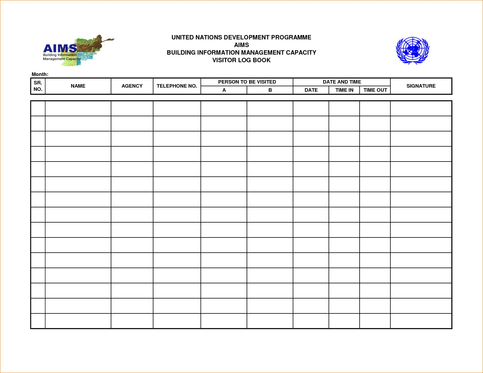 Visitor Log Book Template Free