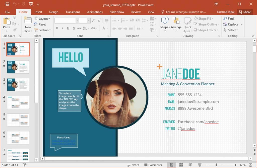 Visual Resume Powerpoint Templates Free