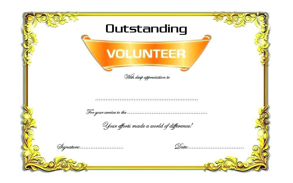 Volunteer Service Award Certificate Template