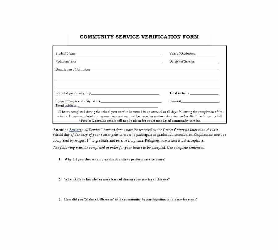 Volunteer Verification Form Template