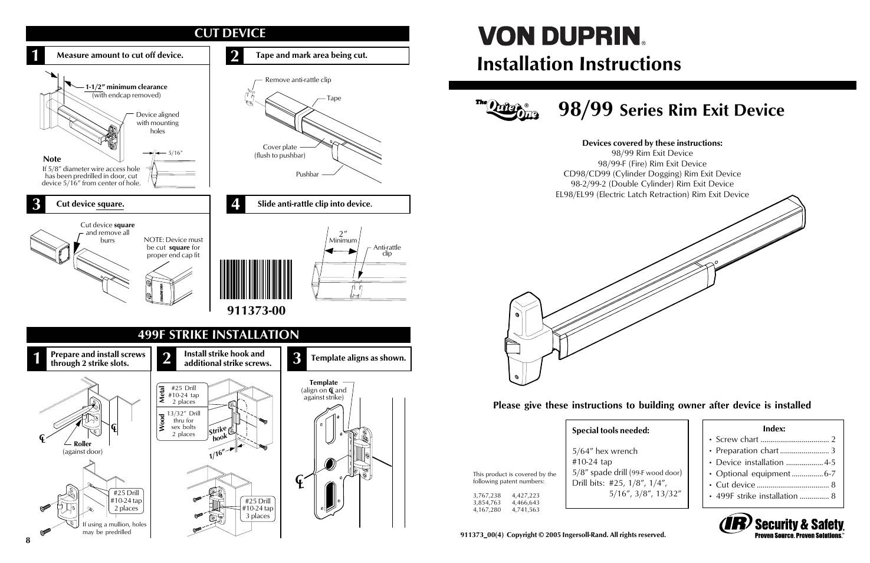 Von Duprin 98 Exit Device Template