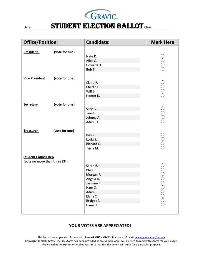 Voting Ballot Template For Students