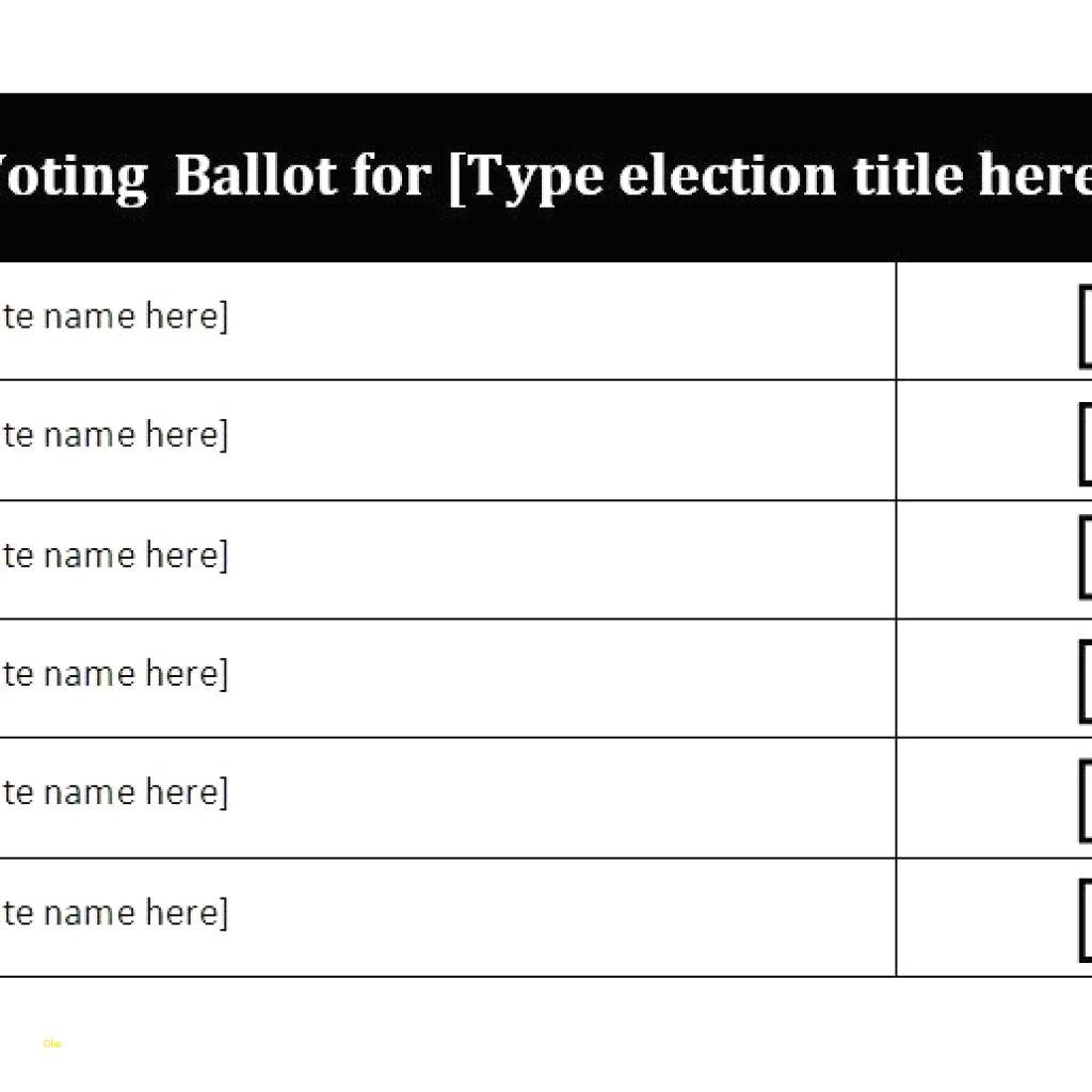 Voting Ballot Template Word