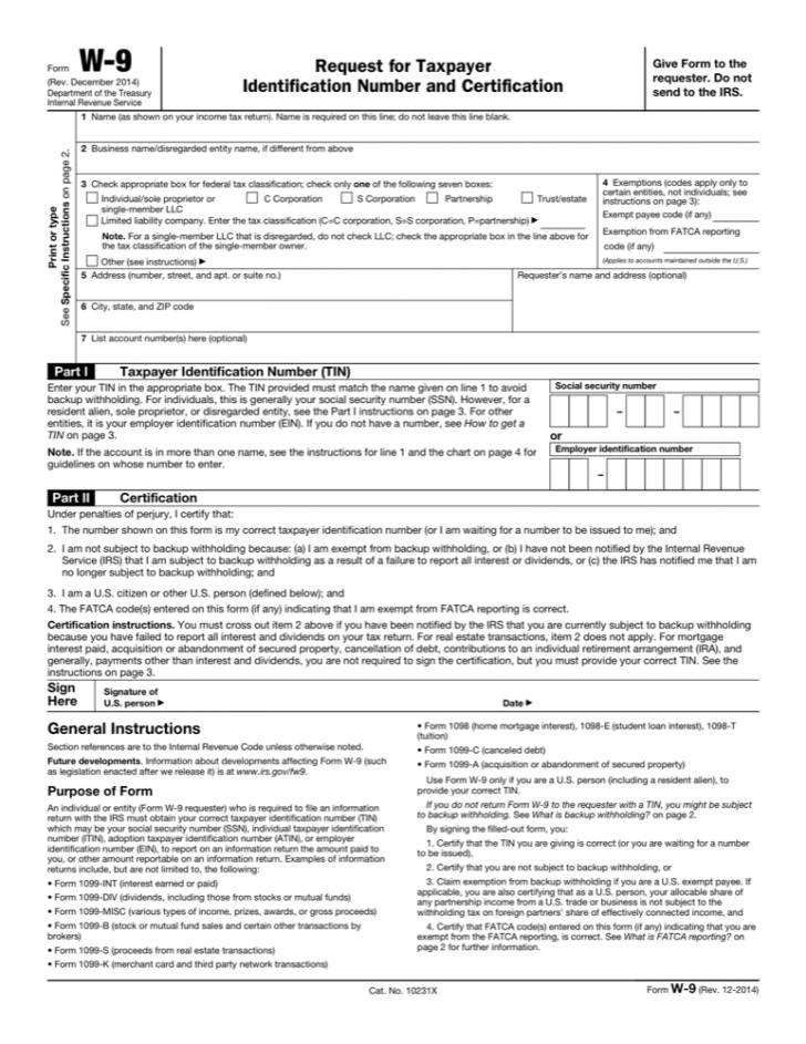 W 9 Form Template