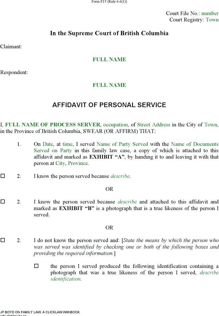 Wa Family Court Affidavit Template
