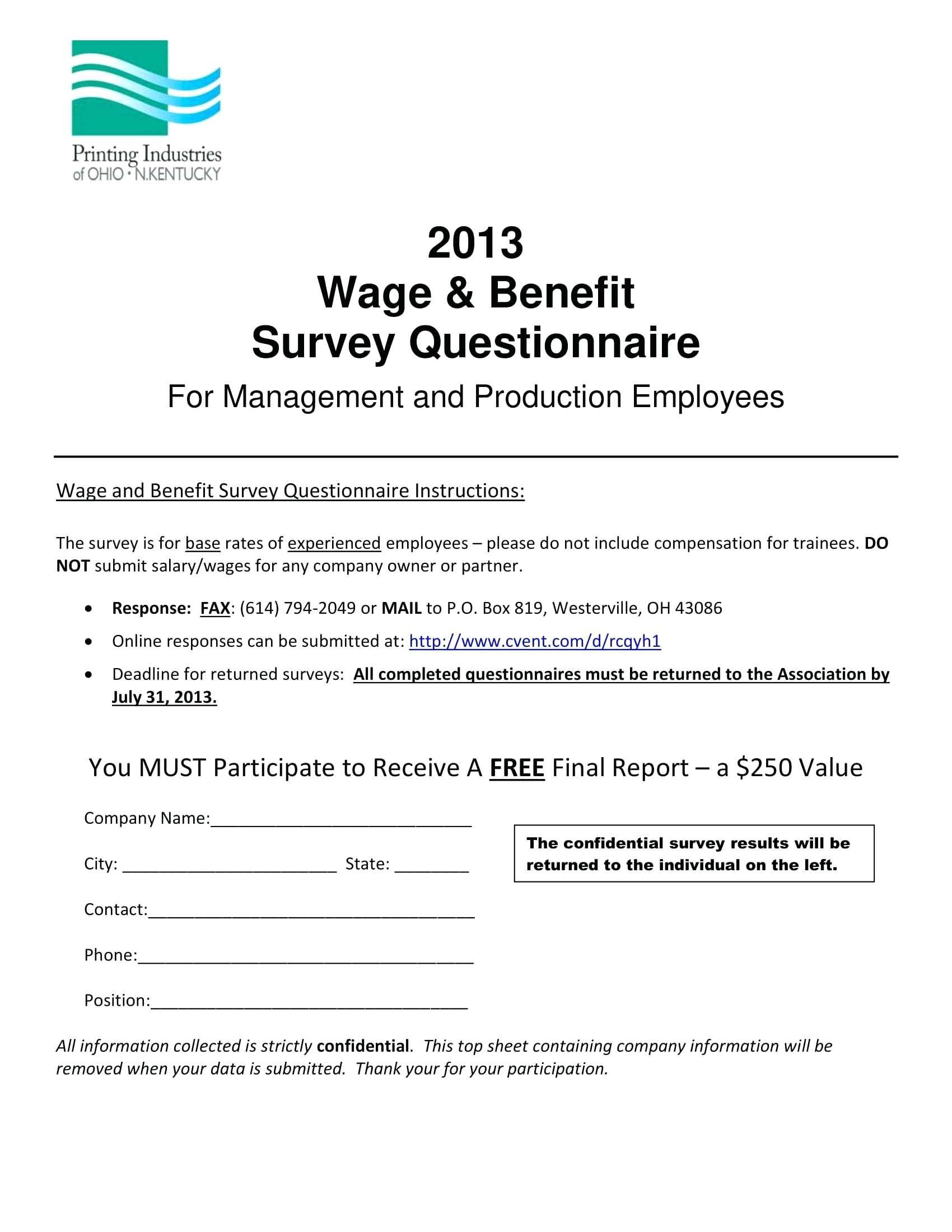 Wage And Benefit Survey Template