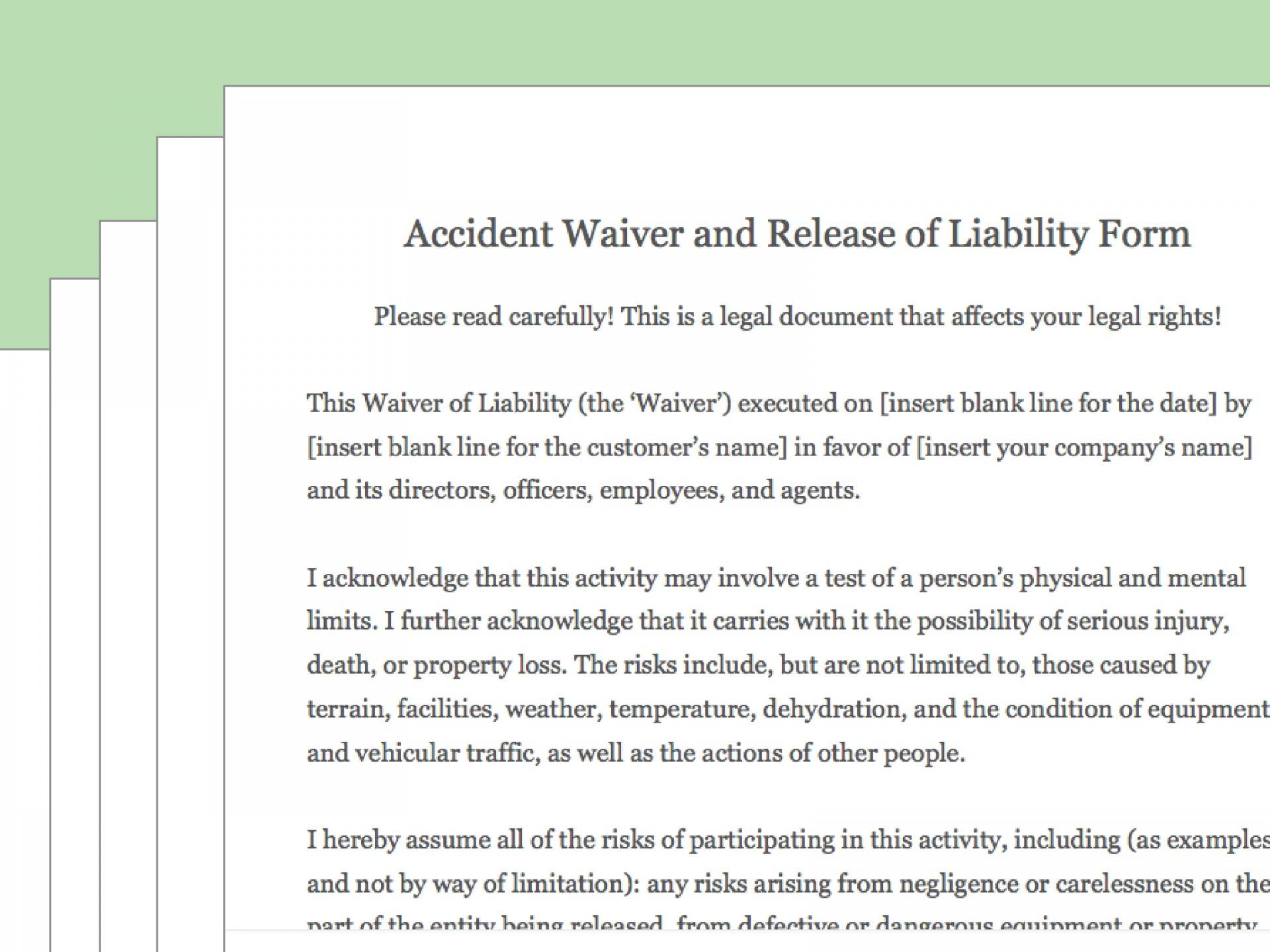 Waiver Of Liability Agreement Template