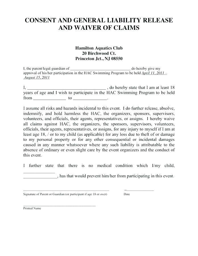 Waiver Of Liability Template Canada