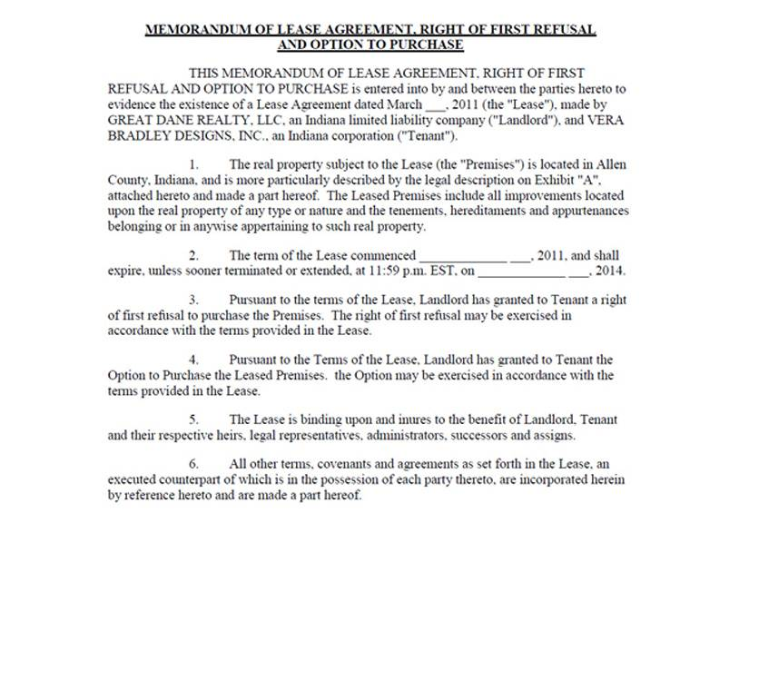 Waiver Of Right Of First Refusal Template