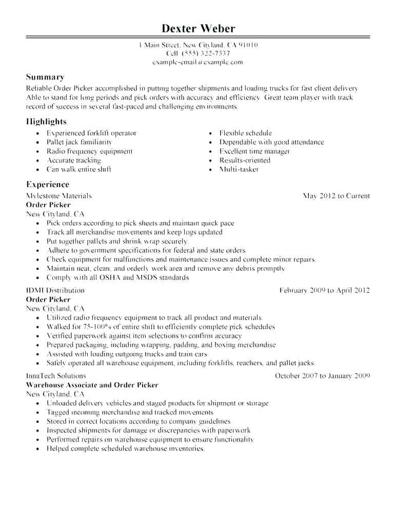 Warehouse Manager Job Description Resume