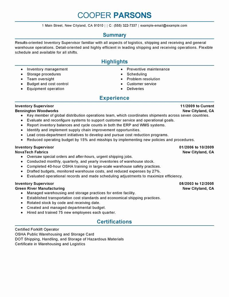 Warehouse Supervisor Resume Template