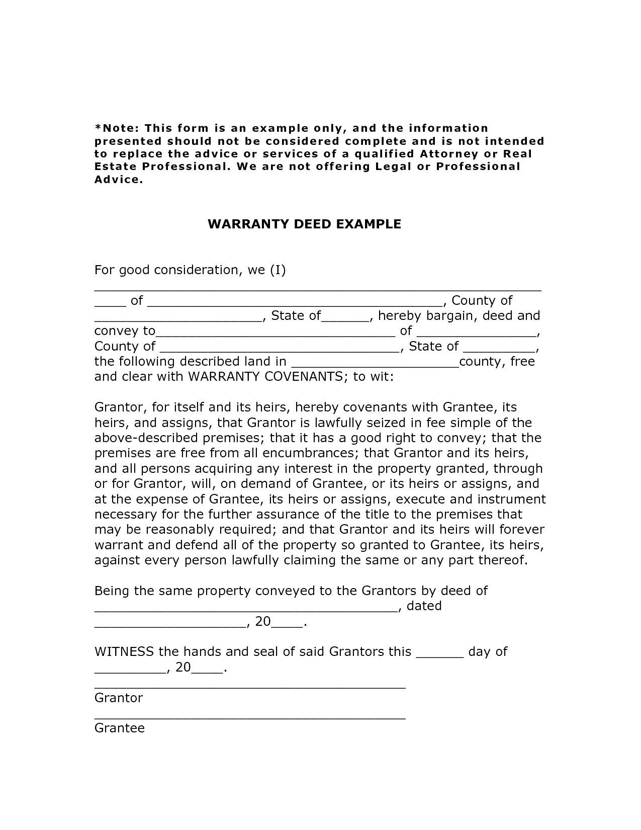 Warranty Document Template
