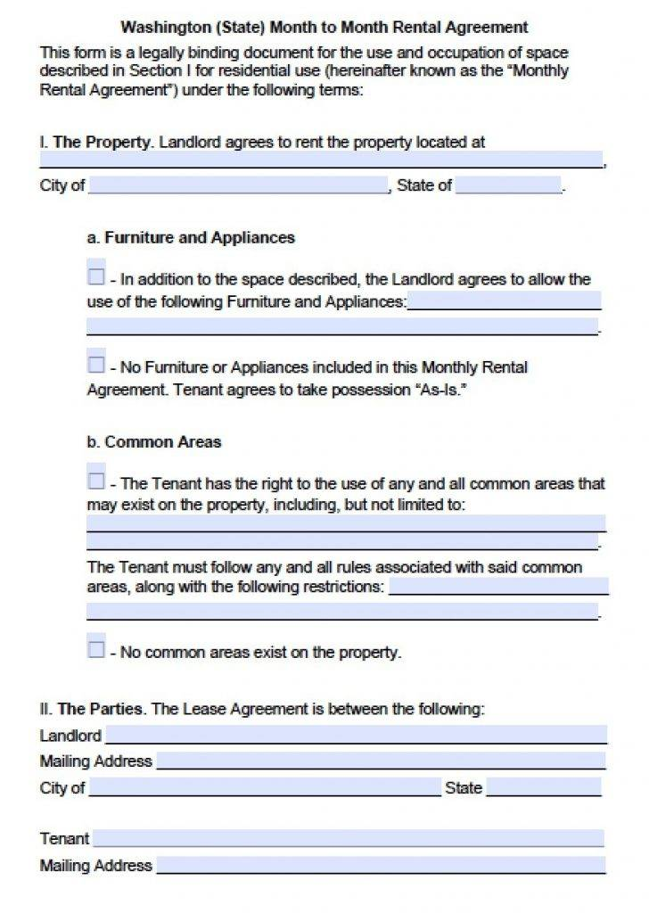 Washington State Rental Lease Agreement Forms Free